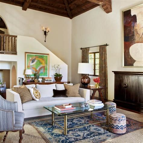 spanish revival style living room  contemporary