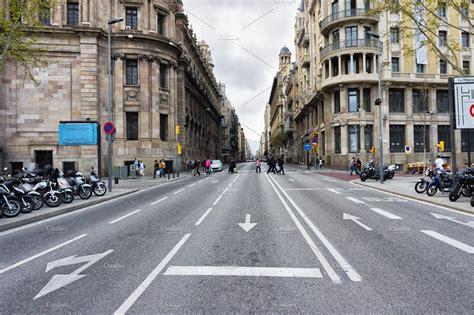 empty street background  wide road  buildings