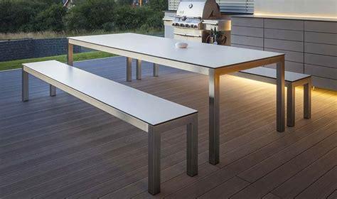 banc blanc design pour table manger de jardin leuven 280 cm