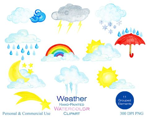 Watercolor Weather Clipart For Commercial Use Watercolor