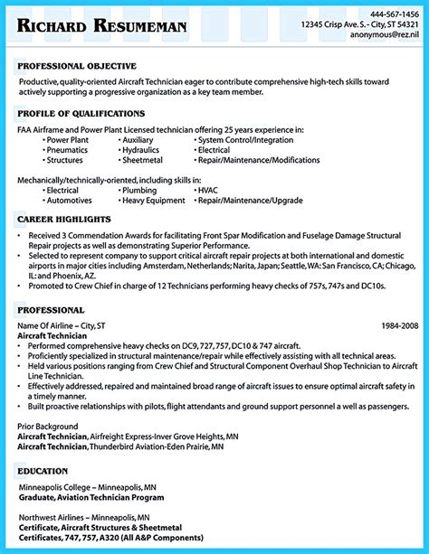 convincing design  layout  aircraft mechanic resume