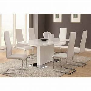 modern dining 7 piece white table white upholstered With modern white dining room chairs