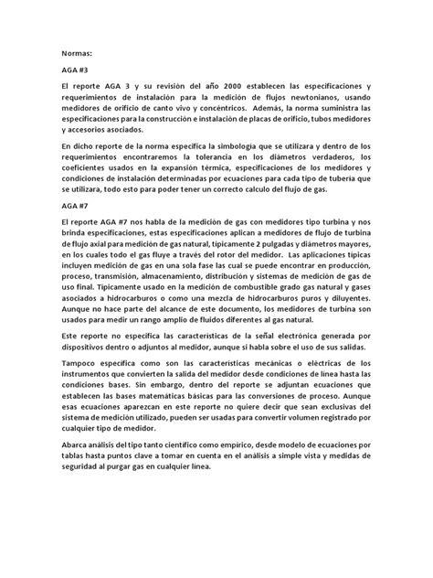 Normas API -AGA | Electrónica | Medición
