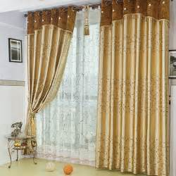Gold embroidered gauze window full blackout curtains finished high-end living room bedroom bay window curtain fabric