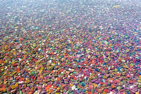 colored river rocks the colored pebbles of lake mcdonald amusing planet