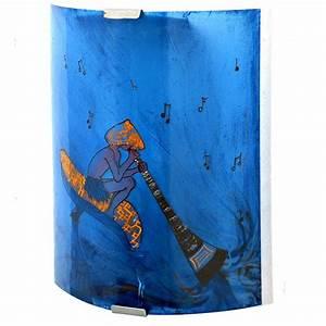 Bleu Et Orange : applique murale bleu et orange le lutin au didjeridoo ~ Nature-et-papiers.com Idées de Décoration