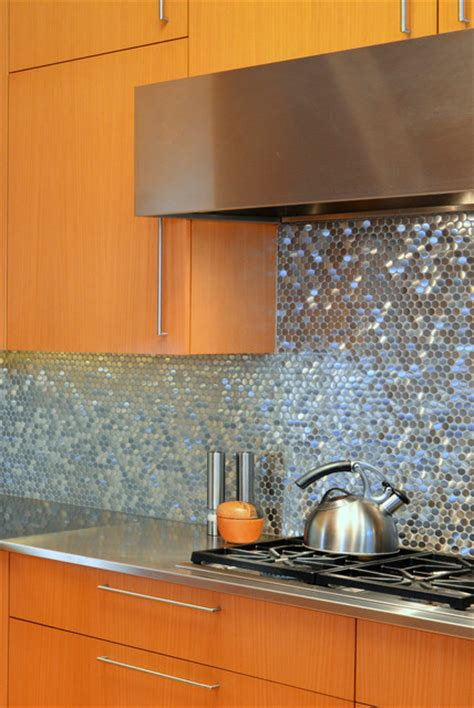 stainless steel sparkles  backsplash contemporary