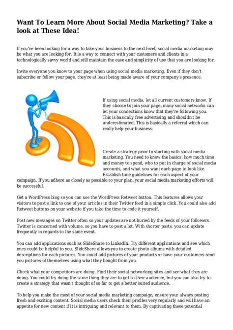 Learn Social Media Marketing want to learn more about social media marketing take a