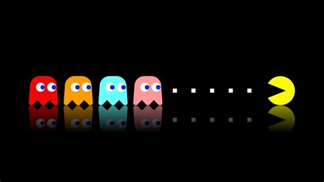 Pacman, Video Games, Simple, Colorful, Classics, Black