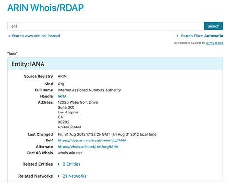 whois american registry  internet numbers