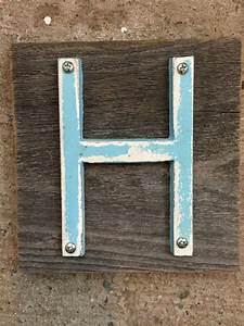 distressed light blue 5 inch cast iron letter h on With light blue iron on letters