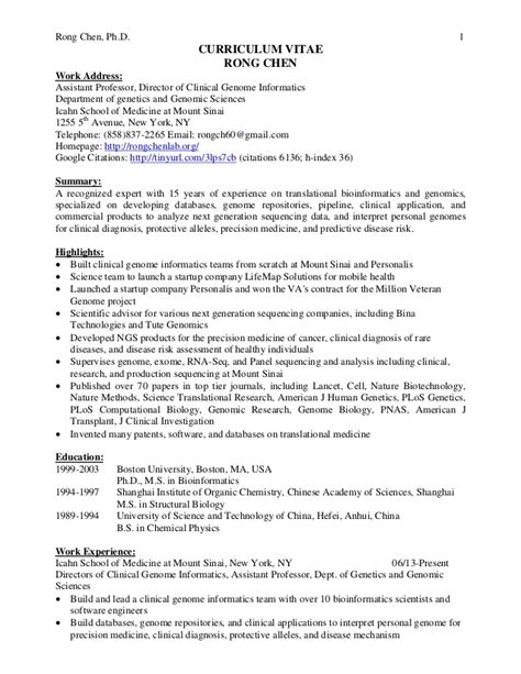 Bioinformatics Resume by Cv Of Rong Chen