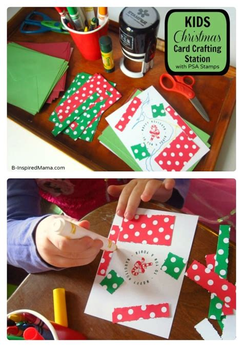 Use up bits of scrap ribbon to make these simple christmas tree cards! Kids Christmas Craft - A Christmas Card Crafting Station - B-InspiredMama.com