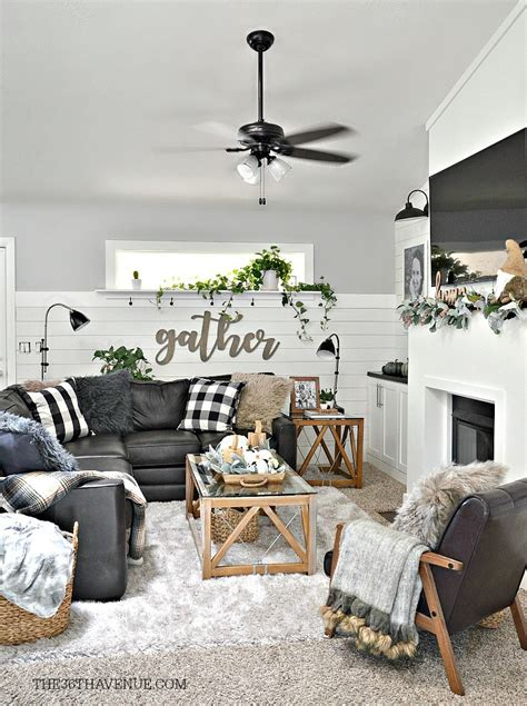 Decorating Ideas For Living Room With by Living Room Farmhouse Decor Ideas The 36th Avenue