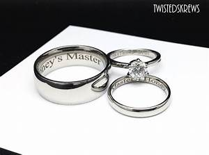 mature bdsm engraved couples 3 piece wedding rings set dom sub With bdsm wedding rings