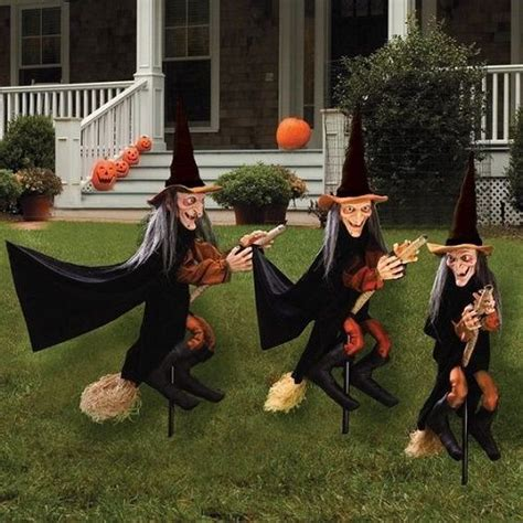 halloween witch garden stakes set  lawn decoration party