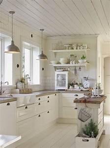 Etagere Blanche Et Bois : petite cuisine avec lot central ou bar 24 id es d ~ Teatrodelosmanantiales.com Idées de Décoration