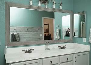 Diy bathroom mirror frame for under 10 rise and renovate for Molding around mirror bathroom