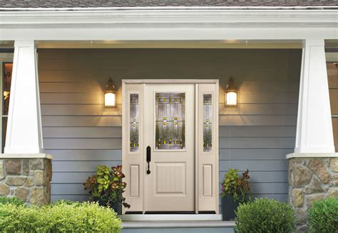smooth fiberglass entry doors marathon door glass