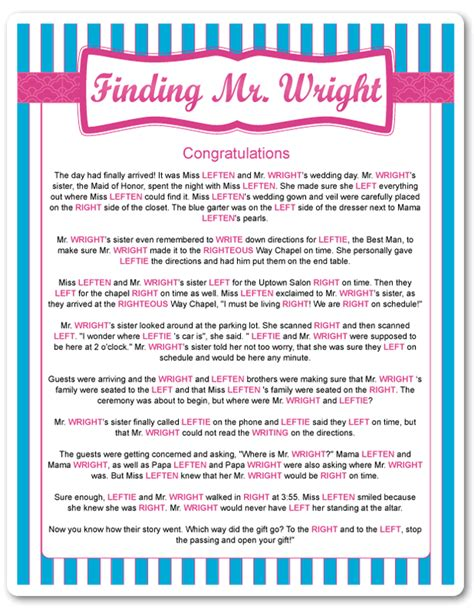 Left Right Bridal Shower by Printable Finding Mr Wright Funsational Bridal