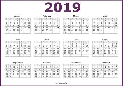 Free Printable Calendar 2019 In Pdf Word Excel Template