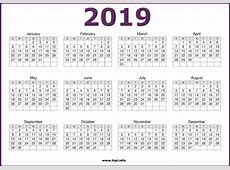 Free Printable 2019 One Page Calendar December 2019