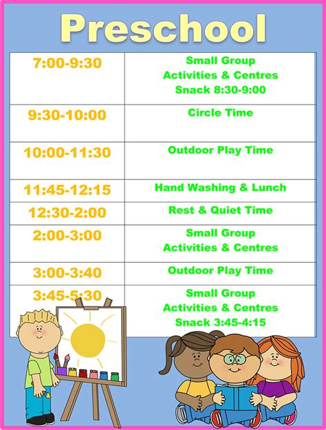 time preschool day care tiny hoppers 643 | preschool schedule