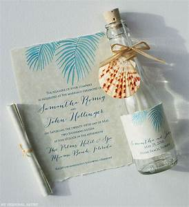 palm leaves invitations mospens studio With beach themed wedding invitations message in a bottle