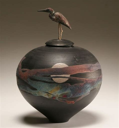 modern contemporary studio pottery vase  crane finial