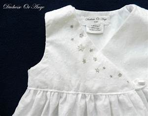 White eyelet wrapover baby dress with silver handmade for Robe blanche bebe