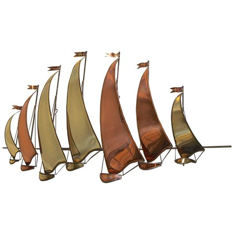 Adecuado sea wall art ocean sailboat oil painting style picture nautical canvas picture gold boat artwork framed coastal prints ready to hang for living room bathroom. Large C. Jere Style Sail Boat Brass and Copper Wall Sculpture For Sale at 1stdibs