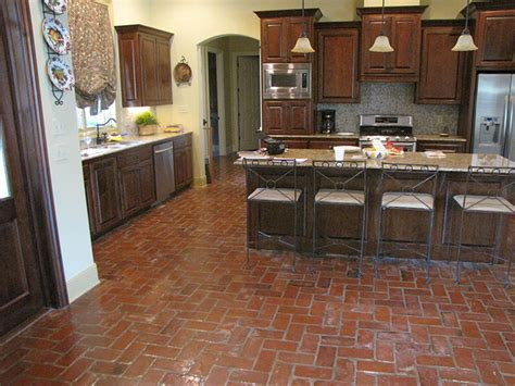 The Pros And Cons Of Brick Floor Surface Coverings Urban Barn Kitchener Small Rustic Kitchen Designs French The Menu Art Neutral Ideas Cottage