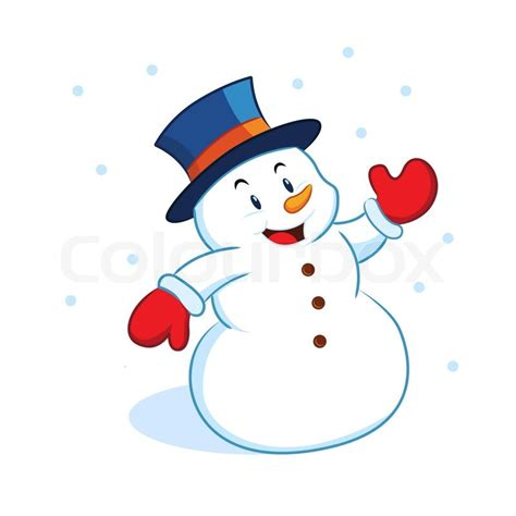 a vector illustration of a snowman waving hand stock