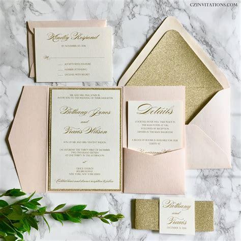 blush wedding invitations blush and gold glitter pocket wedding invitations by 1989