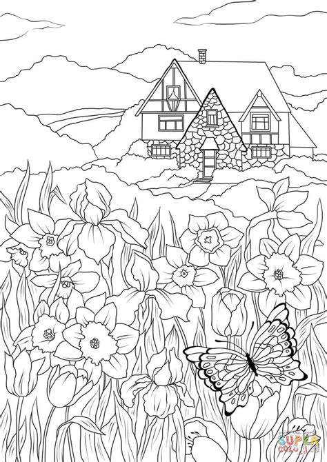 Spring Flowers Butterfly and Country House coloring page