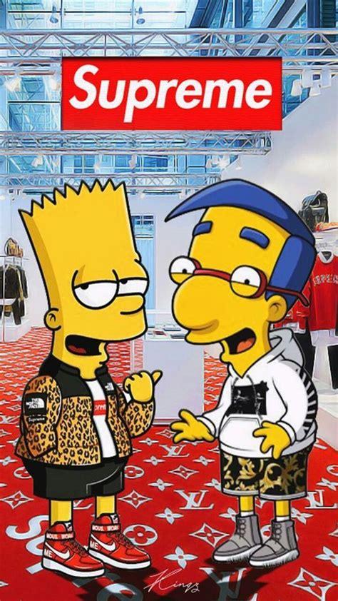 Bart Simpson Supreme phone wallpaper for iPhone iPad