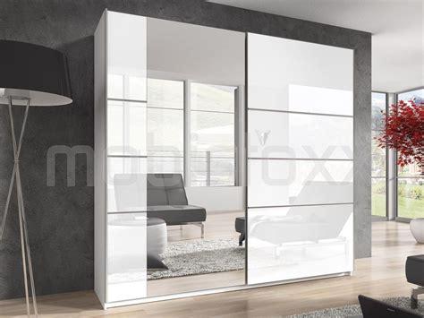 armoire coulissante cuisine armoire blurry 2 portes 220 cm blanc blanc laqué chez