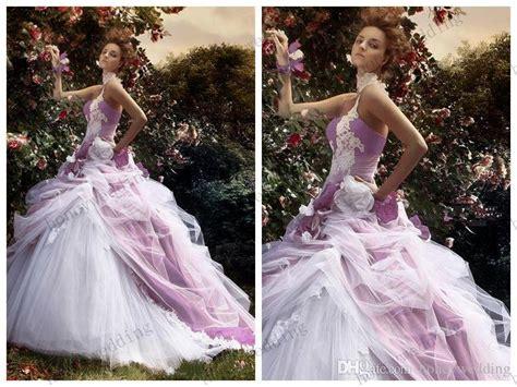 Romantic Ball Gown 2015 Wedding Dresses Purple White Tulle