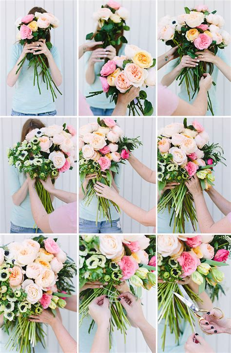 how to make an arrangement of flowers make this giant diy flower blocked bouquet paper and stitch