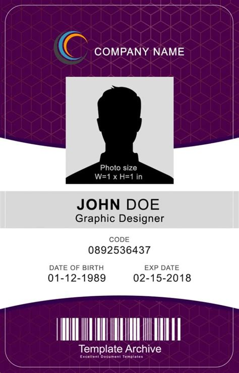 id badge id card templates  templatearchive