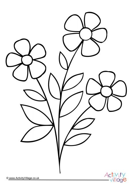 flowers colouring page