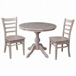 36, U0026quot, Round, Dining, Table, With, 12, U0026quot, Leaf, And, 2, Emily, Chairs, U2013, Washed, Gray, Taupe