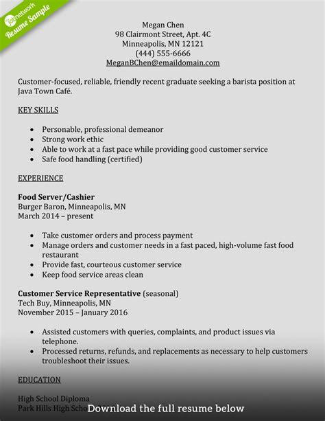 how to write barista resume barista resume exle exles of resumes