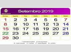 Calendário de Setembro de 2019 webcid