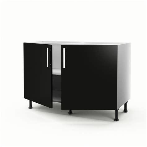 meuble de cuisine sous évier noir 2 portes délice h 70 x l