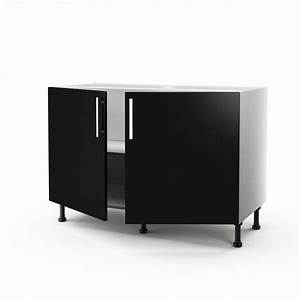 Meuble Sous Evier 120 : meuble de cuisine sous vier noir 2 portes d lice x l ~ Nature-et-papiers.com Idées de Décoration