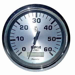 Faria 4 U0026quot  Spun Silver Tachometer W  Hourmeter 6000 Rpm