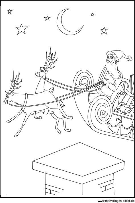 malvorlage vom weihnachtsmann und seinem schlitten zum