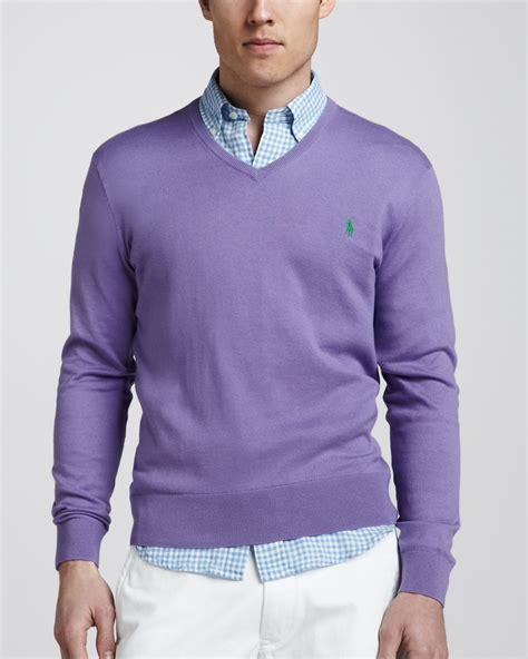 ralph polo sweaters polo ralph vneck cottoncashmere sweater in purple
