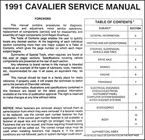 service manuals schematics 2001 chevrolet cavalier electronic toll collection 1991 chevy cavalier repair shop manual original